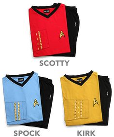 Star Trek Uniform Pajamas. WOULD SOMEONE PLEASE GET ME THE SCOTTY ONES