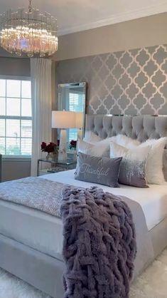 Grey Bedroom Decor, Glam Bedroom, Room Ideas Bedroom, Bedroom Colors, Home Bedroom, Master Bedroom Decorating Ideas, Adult Bedroom Ideas, Silver And Grey Bedroom, Glass Bedroom Furniture