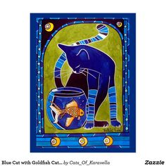 Blue Cat with Goldfish Cat Art Postcard by Cats of Karavella. Cat Art by Dora Hathazi Mendes #catart for #catlovers