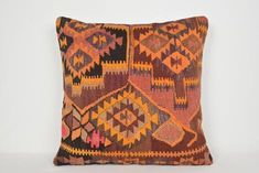 Knit Pillow, Wool Pillows, Kilim Cushions, Geometric Cushions, Striped Cushions, Oversized Floor Pillows, Kilim Fabric, Turkish Design, Rustic Bedding