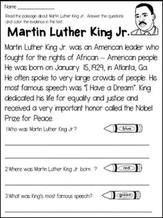 Martin Luther King Jr. : Martin Luther King Jr. Close Reading Passage and Activities!This Martin Luther King Jr. product contains a close reading passage, follow up activities, and 2 posters based on Martin Luther King Jr. 's biography.Included:*a close reading passage about Martin Luther King Jr.