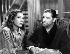 Jean Arthur and Ronald Colman - The Talk of the Town. Ronald looks so handsome with his beard.