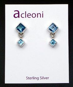 acleoni - Double Square Faceted Blue Topaz & Sterling Silver Earrings 26917 $110.00