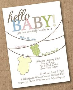 Printable clothesline chalkboard baby shower invitation these would hello baby onesie shower invitation printable and customizable filmwisefo Gallery