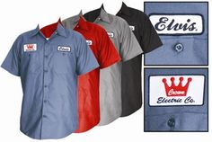 Steady Clothing Elvis Presley Patch Workshirt Gas Station Button Up Shirt sold by steadyclothing.com Elvis The King of Rock  Roll from Tupe...  FOR YOUR BIG GUY UP TO 3X