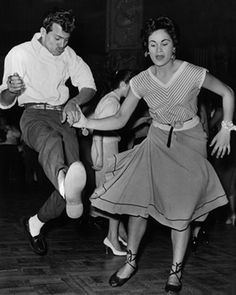 A couple demonstrating rock 'n' roll dancing at the Lyceum, 1950
