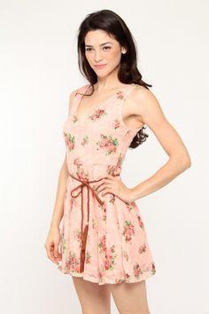 Floral Print Belted Skater Dress