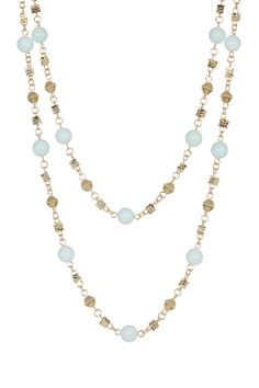 """About This Item Details: - 14K gold plated wire-wrapped amazonite beaded endless double wrap necklace - No clasp -- style slips over head - Approx. 50"""" chain length - Jewelry pouch included - Imported"""
