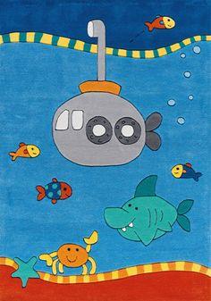 Alles wat je zeerovershart wenst, ontdek je al spelend op dit spannende Sam kindervloerkleed met duikboot! | Adventurous children's rug with submarine | Arte Espina
