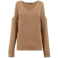 Boohoo Sarah Cold Shoulder V Neck Oversized Jumper | Boohoo (€18) ❤ liked on Polyvore featuring tops, sweaters, beige sweater, v neck sweater, crochet top, crew neck sweaters and oversized crew neck sweater