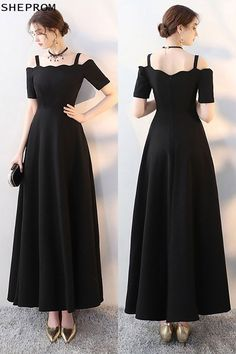 Shop Simple Maxi Long Black Formal Dress with Cold Shoulder online. SheProm offers formal, party, casual & more style dresses to fit your special occasions. Simple Long Dress, Simple Dresses, Elegant Dresses, Nice Dresses, Simple Party Dress, Trendy Dresses, Casual Dresses, Fashion Dresses, Dress Outfits