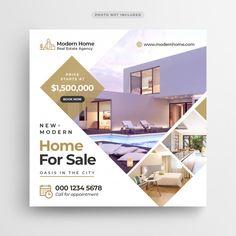 Real estate sale social media banner or square flyer template Premium Psd Real Estate Banner, Real Estate Flyers, Real Estate Ads, Banners, Web Banner, Social Media Banner, Social Media Design, Banner Design, Flyer Design