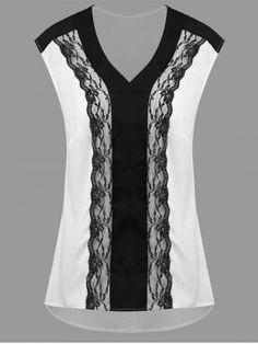 Plus size sleeveless lace panel high low blouse white xl High Collar Blouse, Iranian Women Fashion, Kurta Neck Design, Looks Plus Size, Mode Hijab, Plus Size Blouses, Blouse Styles, Lace Tops, Dress Patterns