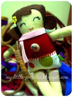 Handstitched Black Apple felt doll