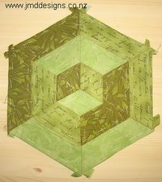 JMD Designs Tutorial- English Paper Piecing 3D Hexagon Design with Hand Quilting