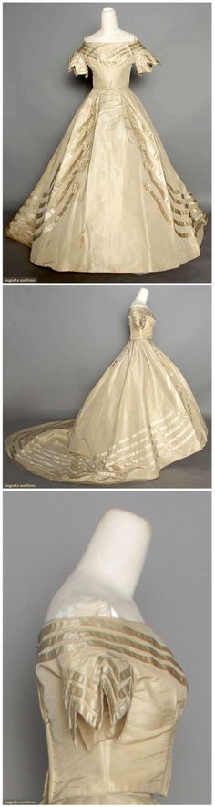 1 bone silk wedding gown w/ self fabric mcockade trim 1850-1860. Augusta Auctions.