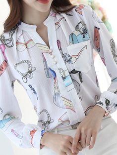 spring 2016 New fashion plus size women tops shirt slim female long sleeved chiffon blouse Plus Size Women's Tops, Shirt Blouses, Shirts, Chiffon Shirt, Office Ladies, Long Blouse, Printed Blouse, New Fashion, Modern Fashion