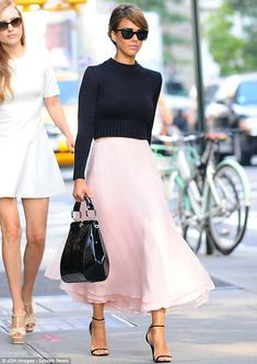 Jessica earlier in the day looked gorgeous in a cropped black jumper with a baby-pink chiffon skirt