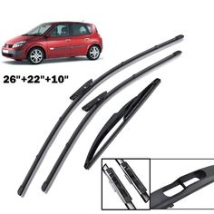 3 x Blades Front and Rear Blades SANTA F/É SUV Nov 2000 to Mar 2006 Windscreen Wiper Blade Set