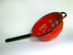 20% OFF Vintage Red Enamel Colander Large by EasternEuropeVintage