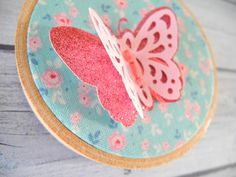 Pink glitter butterfly hoop Spring flower by HoopsyDaisies