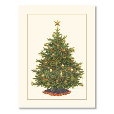 Christmas Tree Greeting Card: Twinkling lights, ornaments with a most festive glow and the scent of Santa's forest. The presence of a Christmas tree indicates the season has truly begun, which is why the recipient of this holiday card will open it with joyful anticipation of the festivities to come.