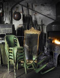Brocante industrielle, décoration industrielle, chaise tolix