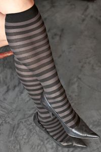 Opaque Striped Nylon Trouser Socks - Sturdy nylon knee highs in classic stripes for work and play.