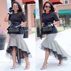 Black White Plaid Print Mermaid Skirt Women High Waist Mesh Patchwork Bodycon Skirt Elegant Ruffles Front Short Back Long Skirt - Sewing - Elegant Dresses, Pretty Dresses, Casual Dresses, Summer Dresses, Sexy Dresses, Formal Dresses, Romantic Dresses, Wedding Dresses, Modest Wedding