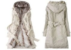 Woman's Detachable Faux Fur Lining Fall/Winter Jacket (Blk/Wht)
