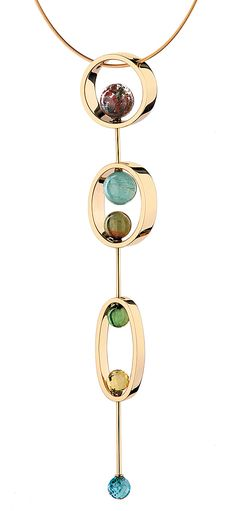 Yael Sonia  Natural Encounters. Pendant. 18K yellow gold, quartz, green tourmaline, aqua-marine, lemon quartz. Based on the colors of the seasons in São Paolo