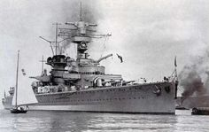 'pocket battleship' Deutschland in 1935 - the first of the 3 'panzerschiffes', she lacked the heavy control tower of her sisters and was not therefore as physically impressive. Renamed Lutzow shortly after the outbreak of war (the loss of 'Deutschland' was deemed unacceptable), she survived until sunk in shallow water by RAF bombing in April 1945.