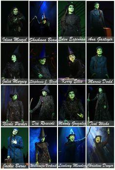 Broadway's 16 Elphabas. Love Idina Menzel (of course!), Stephanie J. Block,  Lindsay Mendez