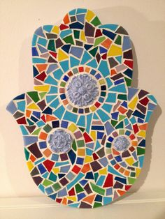 Mosaic Hamsa: Multicolor china and stained glass