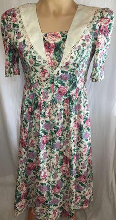 Vtg Floral Tea Dress XS Small Short Sleeve Cotton USA 1980s #Hipster  #TeaDress