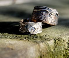 Wedding Rings. Artisan set  Tree Bark His and Hers GAER WOODS Wide bands 4mm Austrian crystal