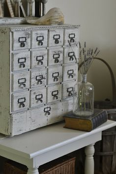 "From ""Faded Charm"": "" ~White Wednesday # 160~ "" -- Lovely distressed white card catalog and vignette."