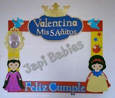 marcos para fiestas Baby 1st Birthday, Birthday Cake Girls, Birthday Decorations, Birthday Party Themes, Picture Frames For Parties, Baby Snow White, Jasmine Party, Party Frame, Photo Frame Prop