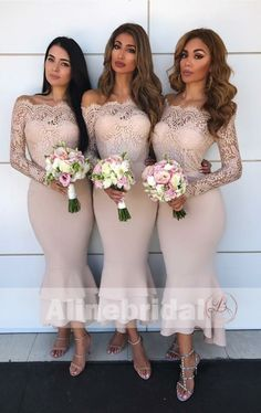 Mismatched Off Shoulder Lace Top Bridesmaid Dresses With Long Sleeves – AlineBridal