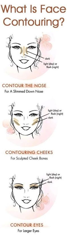 Face contouring uses makeup to highlight a strong feature and underplay a weak one.here are some tips on how to contour your face. All Things Beauty, Beauty Make Up, Diy Beauty, Beauty Hacks, Eye Makeup, Contour Makeup, Makeup Tips, Contour Nose, Basic Makeup
