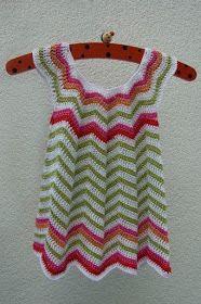 Crochet Knitting Handicraft: little summer dress( Ripple )