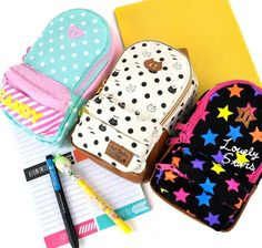 pencil pouches that look like mini backpacks!! I like the blue and the white ones