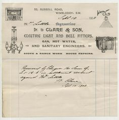 Wimbledon Electric Lights Pictorial Letterhead Clare Bells1903 advertising