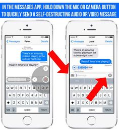 You can now take and send audio and video that self-destruct in two minutes via iMessage by holding down the camera or microphone icons. 16 Things You Didn't Know Your New iPhone Could Do Cell Phone Hacks, Iphone Life Hacks, Smartphone Hacks, Iphone Codes, Android Codes, Nouvel Iphone, Iphone Information, Iphone Secrets, Whatsapp Tricks