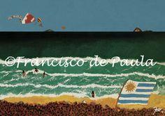 Posto 9 - Ipanema - RJ (Bandeira a direita: Uruguai). Acrílico Sobre Tela 40 x 50cm. De #CineFranciscodePaula - Original s/ Moldura. Entrega p/ Todo Brasil. R$400,00  contato@fofuricesartedesign.com / contato@cinefranciscodepaula.com.br