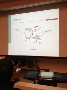 Chemistry with Memes [Picture] Biochemistry: Ligases - a cartoon. Definitely something that students won't forget.Biochemistry: Ligases - a cartoon. Definitely something that students won't forget. Biology Jokes, Chemistry Jokes, Biology Teacher, Teacher Humor, Chemistry Gifts, Chemistry Classroom, Biology Lessons, Ap Biology, Lab Humor