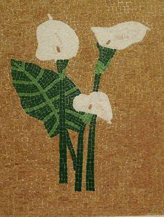 Handmade Mosaic Depiction of Flowers