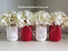 White Cream and Red Distressed Mason Jars, Mason Jar Centerpieces, Mason Jar Wedding, Valentine Table Flower Vases, Valentines Day Gift, Hot by MyHeartByHand on Etsy https://www.etsy.com/listing/261039086/white-cream-and-red-distressed-mason
