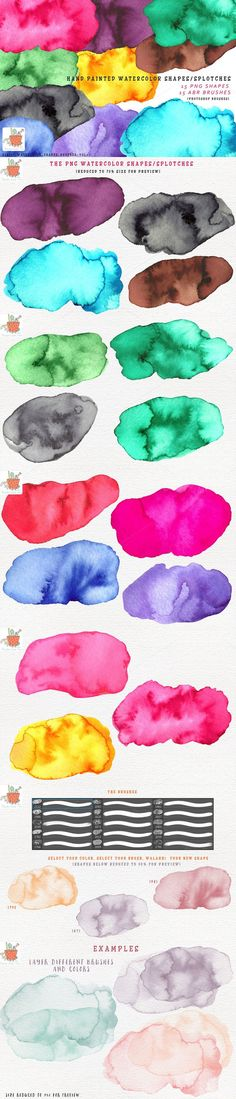 Watercolor Shapes Brushes Vol 3. Photoshop Brushes. $6.00