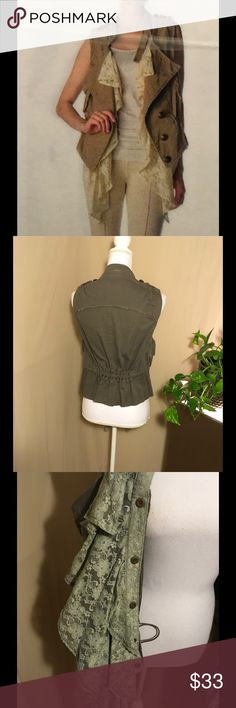 """Olive Green khakis Vest with detached ruffles lace New with tag Anthropologie Vest  khaki with cute detached lace make this Vest very playful and chic , measure 25"""" long and 32 to 34 bust size. Anthropologie Jackets & Coats Vests"""